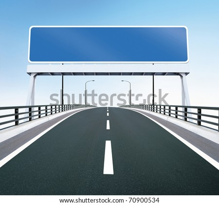 A highway of a bridge. A blank highway sign with room for your text.