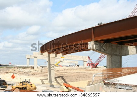 A highway overpass under construction - stock photo