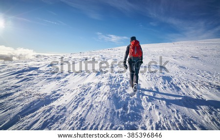A hiker and their dog walking towards the summit of Geal-charn Mor, Cairngorms in the Scottish Highlands, UK. - stock photo