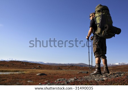 A Hiker on the Kungsleden - the long distance hiking trail in northern sweden scandinavia - stock photo