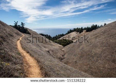 A hiking trail on Mount Tamalpais just north of San Francisco, California, in Marin, leads westward.  This area has many hiking trails used for recreation and is just above Stinson Beach. - stock photo