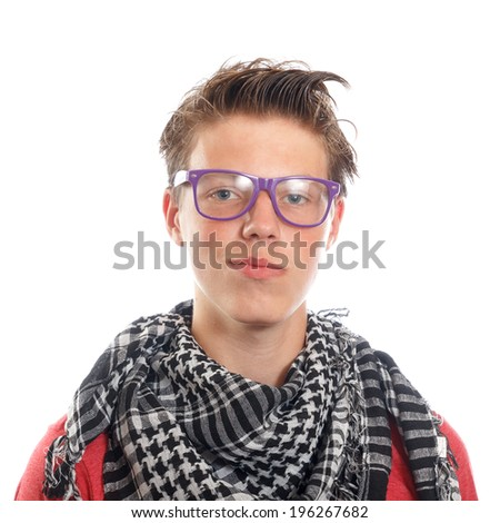 A hipster teen boy with a scarf and glasses
