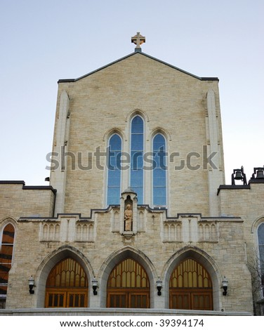 A historic catholic church in downtown Edmonton, Alberta, Canada - stock photo