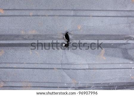 A hole torn in ridged metal siding - stock photo