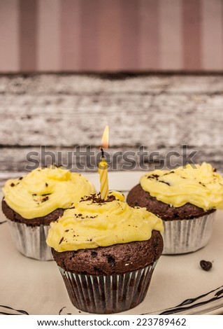 A home baked chocolate cup cake with a single lit candle to celebrate a birthday or other anniversary - stock photo