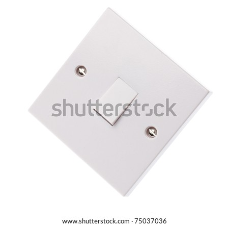 A home electrical light swtich on white background
