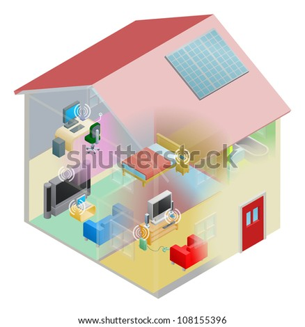 A home internet network with wireless and computing devices connected in a home group local area network. - stock photo