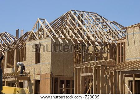A home takes shape. - stock photo