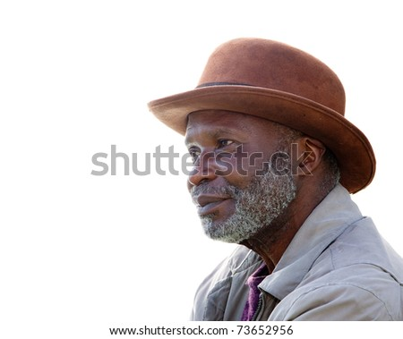 A homeless African-American man in Southern California isolated on white. - stock photo