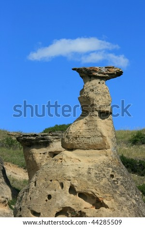 A hoodoo in Writing-On-Stone Provincial Park, Alberta, Canada.