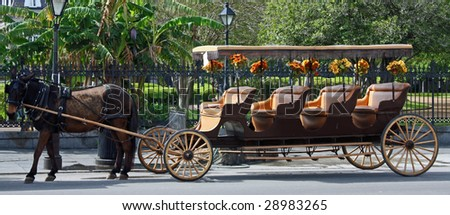 A horse and buggy in New Orleans, Louisiana after recovery from Hurricane Katrina. - stock photo