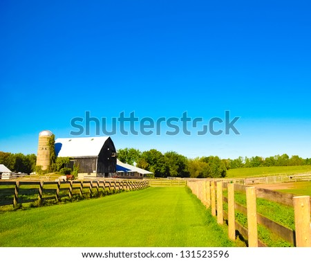 A horse ranch in Barrie, Canada - stock photo