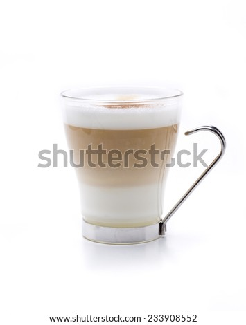 a hot cappuccino served in three layers - stock photo
