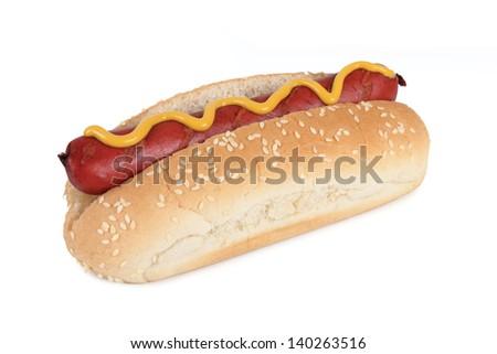 a hot dog on white background - stock photo
