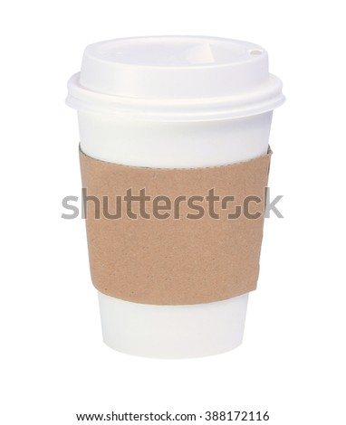 A Hot drink paper cup with sleeve isolated on white background.