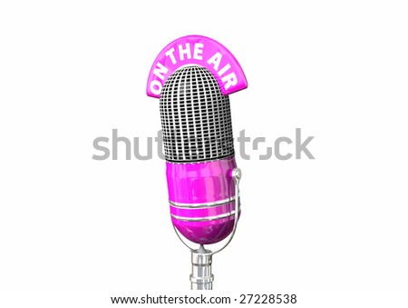 A hot pink retro antique microphone. - stock photo