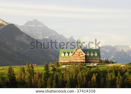 A Hotel in waterton lakes national park, alberta, canada - stock photo