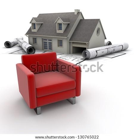 A house, blueprints and a sofa - stock photo