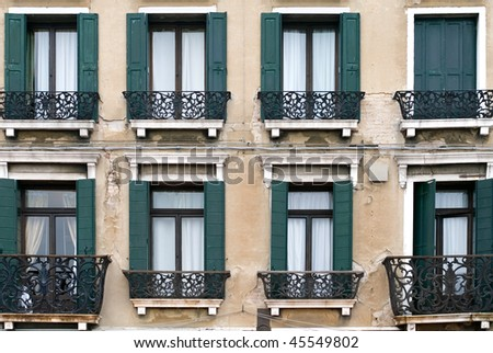 A house facade in Northern Italy - stock photo