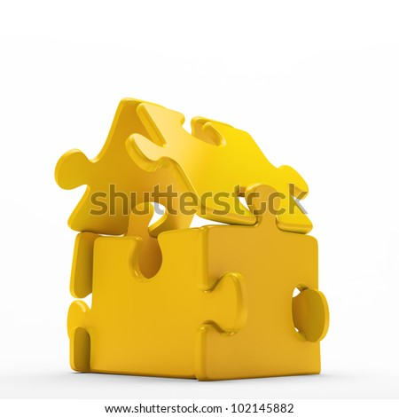 A house icon build out of golden jigsaw puzzle pieces - stock photo