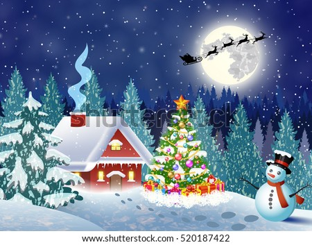 A house in a snowy Christmas landscape at night. christmas tree and snowman. background with moon and the silhouette of Santa Claus flying on a sleigh. concept for greeting card Raster version