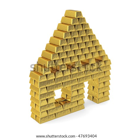 A house made up from gold bars in front of a white background. - stock photo