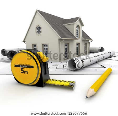 A House on top of blueprints, a pencil and a tape measure - stock photo