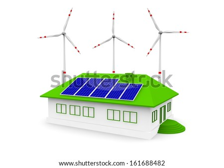 a house this solar panel and wind turbine