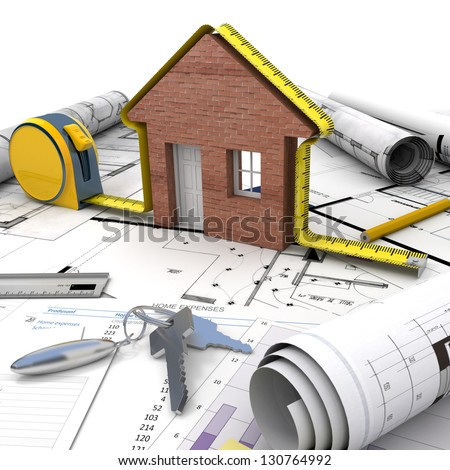 Architect looking house on blueprints choice stock photo for Mortgage for house under construction