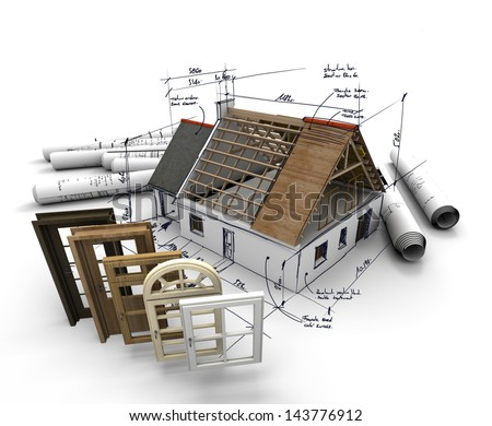 A house under construction, with blueprints and a selection of windows and doors - stock photo