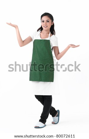 A housewife with her empty hands for holding your products - stock photo