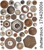A huge collection of rusty bolts, screws, and nuts on a white background. Excellent for adding texture and extra details to your designs. - stock