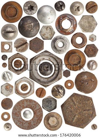 A huge collection of rusty bolts, screws, and nuts on a white background. Excellent for adding texture and extra details to your designs. - stock photo