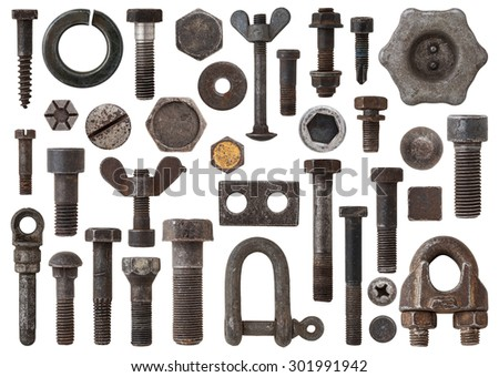 A huge collection of rusty bolts, screws, nuts and other Items by iron. Excellent for adding texture and extra details to your designs - stock photo
