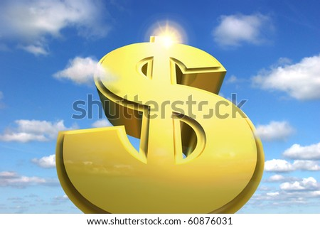 A huge dollar sign rising to the sky symbolizes financial success and a great profit - stock photo
