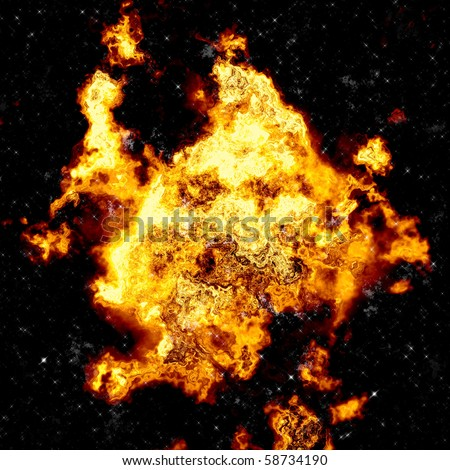 A huge fireball from an explosion - stock photo