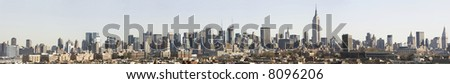 A huge panoramic image of the Manhattan skyline from the Jersey City bluffs, post 9-11 - stock photo