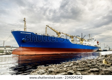 A huge tanker ship in the cargo sea port of St. Petersburg Russia, August 10, 2014 - stock photo