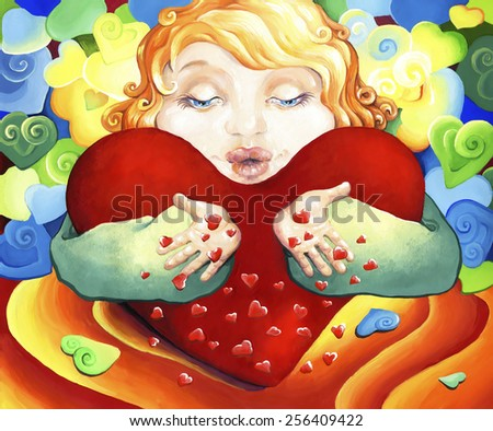 A Hulda with a big heart gives kisses, expressing their love and affection. ?hild with red hair hugs heart and sends others kisses. - stock photo