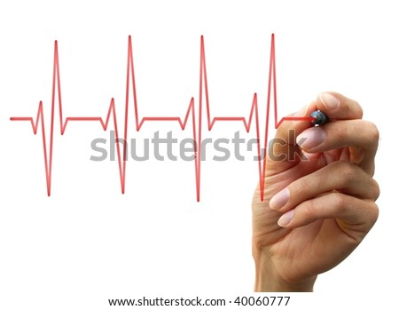 a human hand drawing a chart. isolated on white background