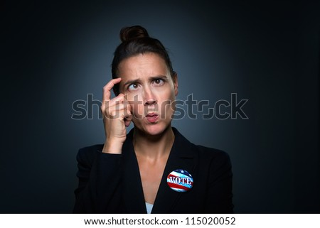 A humorous take on being confused as to who to vote for - stock photo