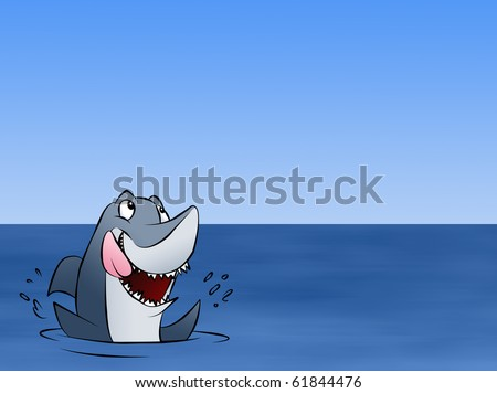A hungry shark excited about whatever news is floating above him. - stock photo