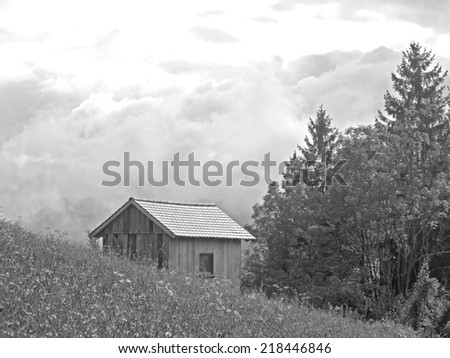 A hut in the rural landscape of Styria.  - stock photo
