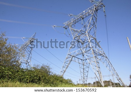 A hydro electric tower used for distributing electricity on a major grid/Hydro Electric Tower /A hydro electric tower used for distributing electricity on a major grid - stock photo