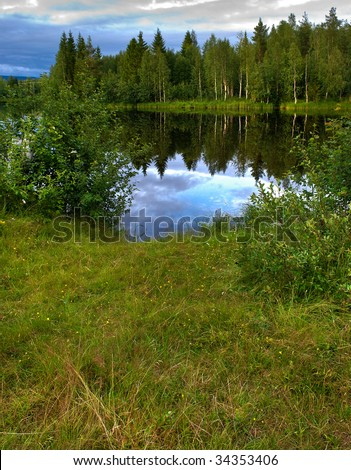 a idyllic scenery in the north of Sweden - stock photo
