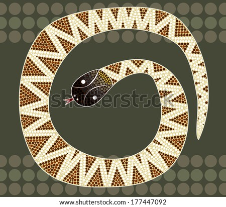 A illustration based on aboriginal style of dot painting depicting black-headed python - stock photo