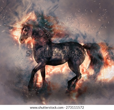 A illustration of a black and silver unicorn with black mane, tail and fetlocks.  He has magical flames coming from him as if he is a fire elemental unicorn.
