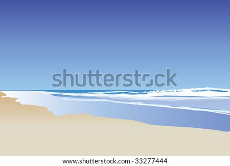 A illustration of a blue ocean and rolling waves - stock photo