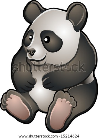 A  illustration of a cute friendly giant panda bear
