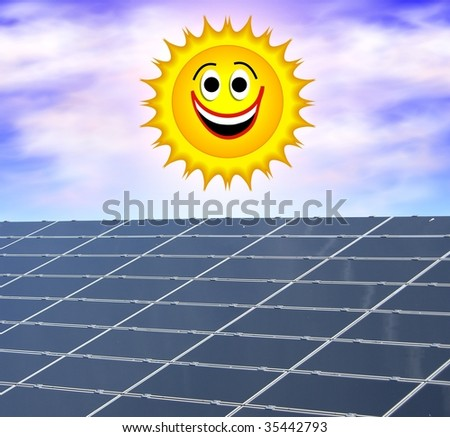 a illustration of a solar panel against a smiling sun - stock photo